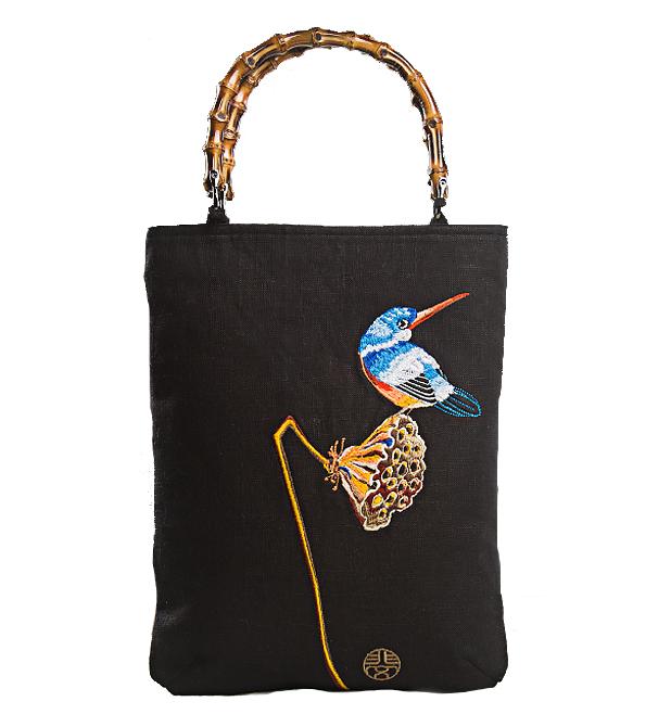 title='翠鳥刺繡手提包'
